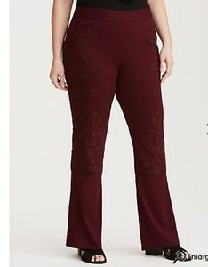 Torrid 10 maroon embroidered flare pants New
